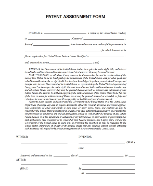 formal patent assignment form
