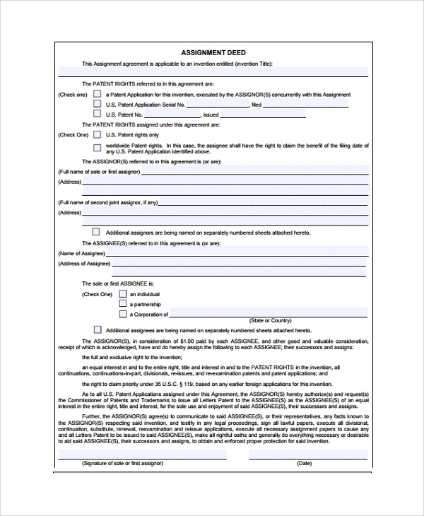 patent assignment agreement This patent application assignment agreement will effectively assign a patent application this assignment sets forth the identities of the assignor and assignee, the.