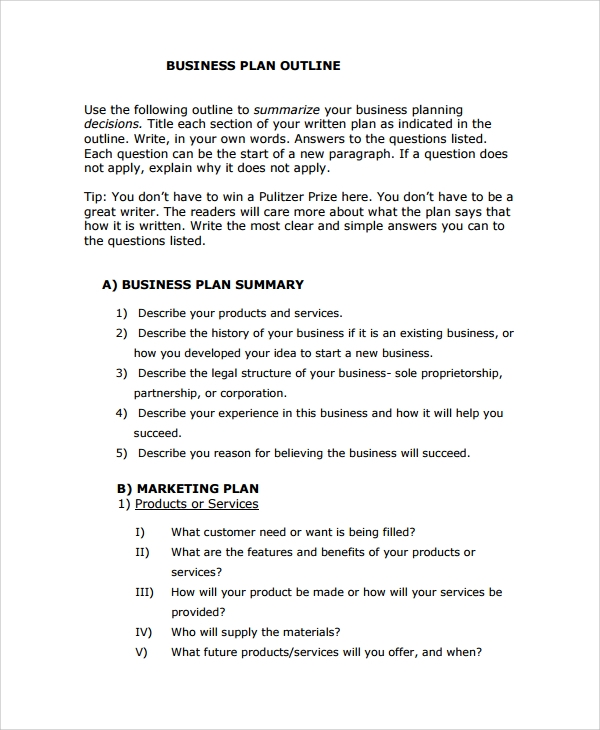 sample business plan outline template 7 free documents