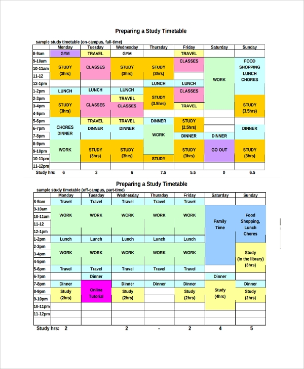 Sample Weekly Timetable Template   Free Documents Download In