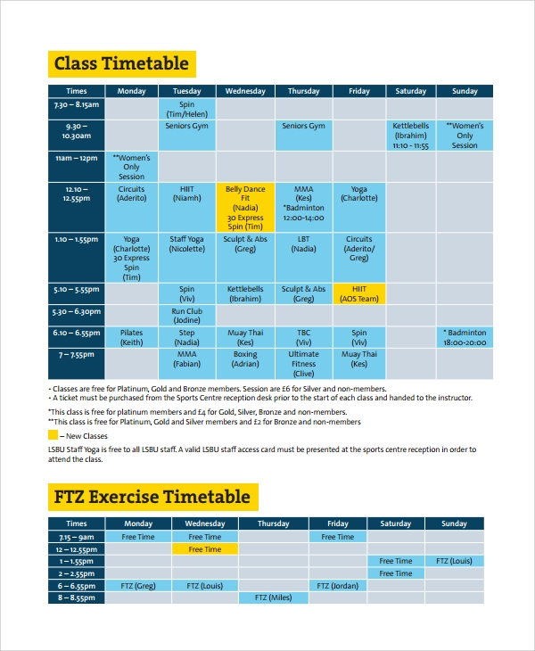 Sample Class Timetable Template   Free Documents Download In