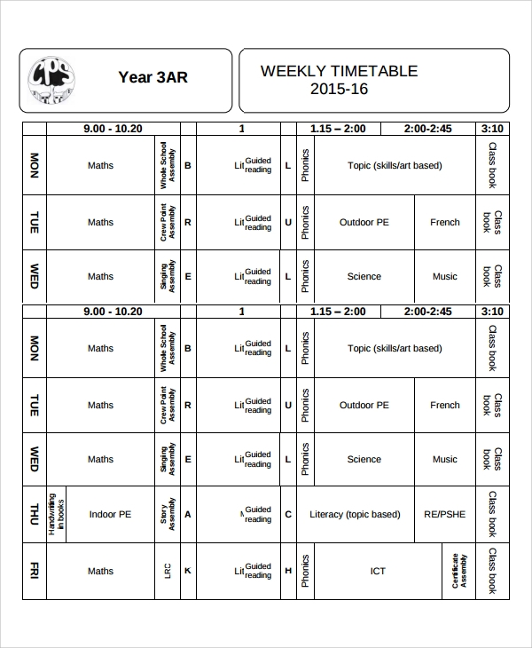 weekly class timetable template