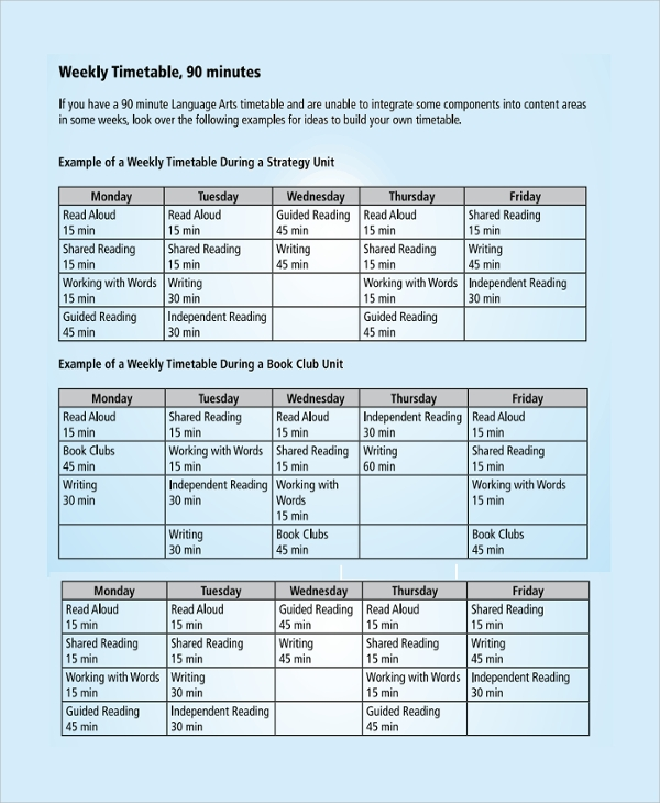 education weekly timetable template