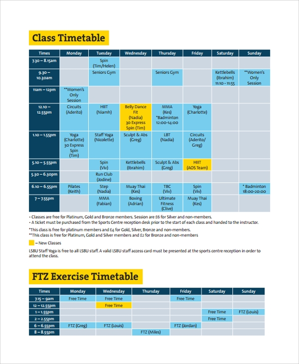 exercise weekly timetable template
