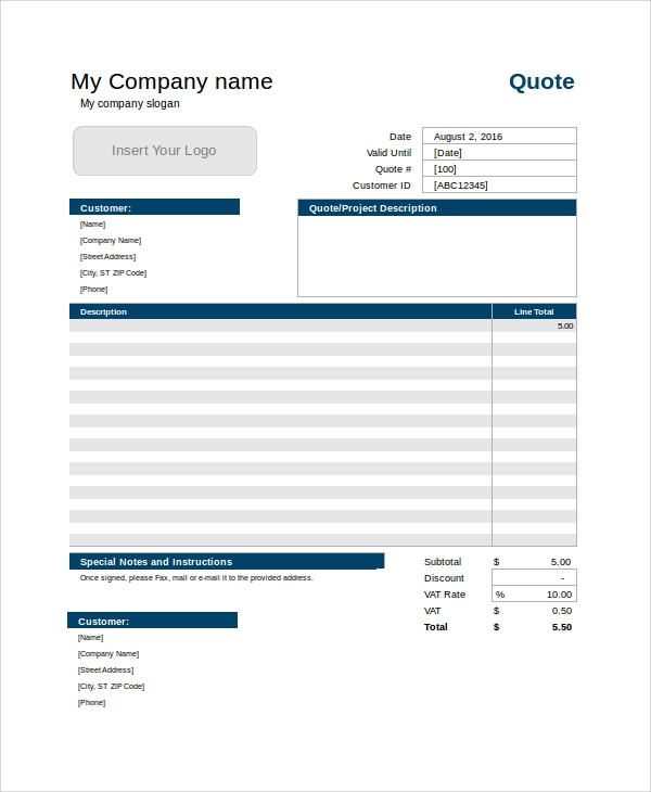 Sample Service Quote Template - 7+ Free Documents Download In