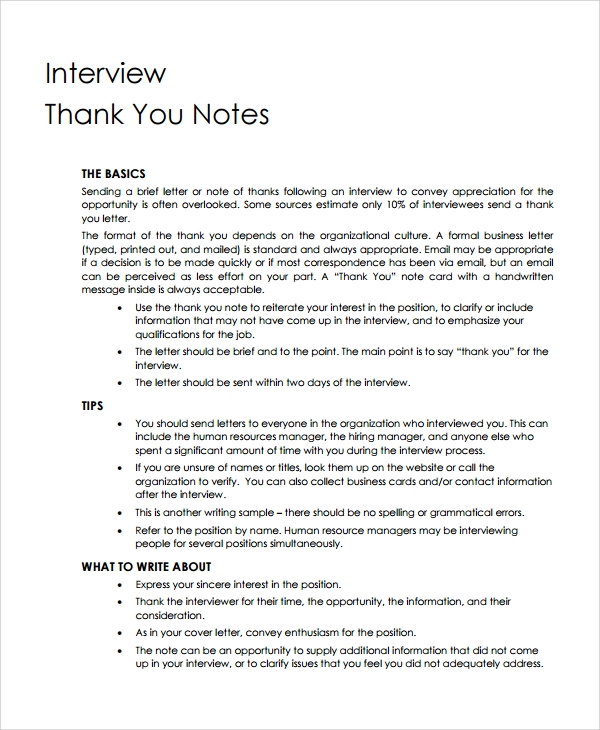 Sample Thank You Note - 22+ Free Documents Download in Word, PDF