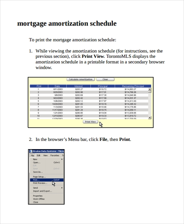 sample mortgage calculator