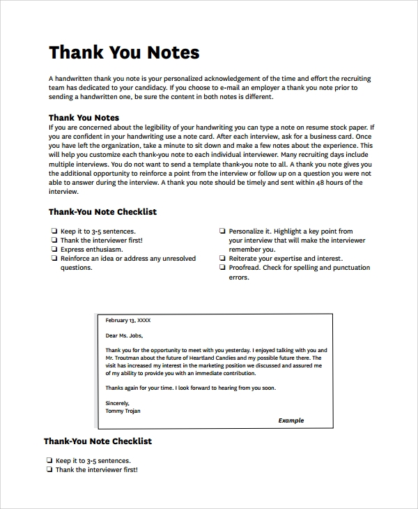 thank you note checklist