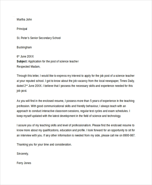 Teacher Cover Letter Template