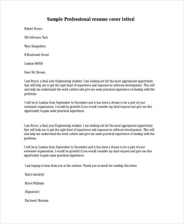 Sample Cover Letter Template   Free Documents Download In Pdf