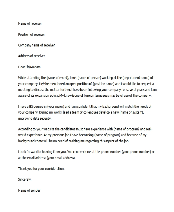 sle cover letter template 19 free documents