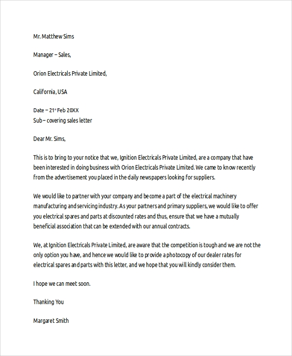 sales cover letter template - Sales Cover Letter Template