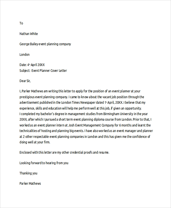 event planner cover letter template
