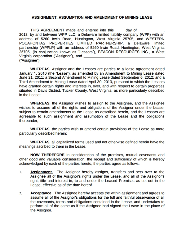 assignment amendment of mining lease