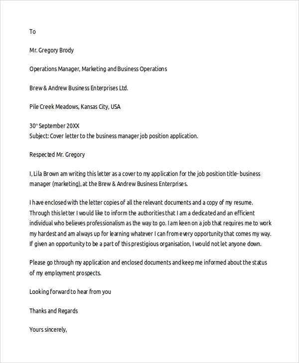 Sample cover letter template 19 free documents download in pdf business cover letter template spiritdancerdesigns Images