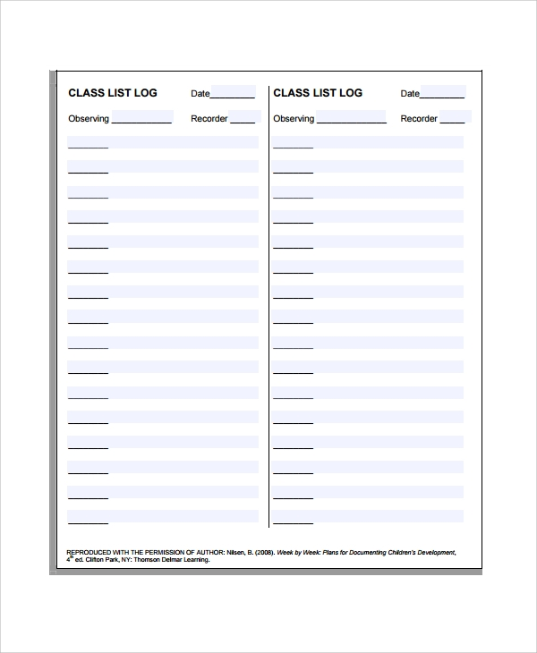 Sample Class List Template   Free Documents Download In Pdf