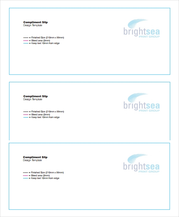 Sample Compliment Slip Template   Free Documents Download In Pdf