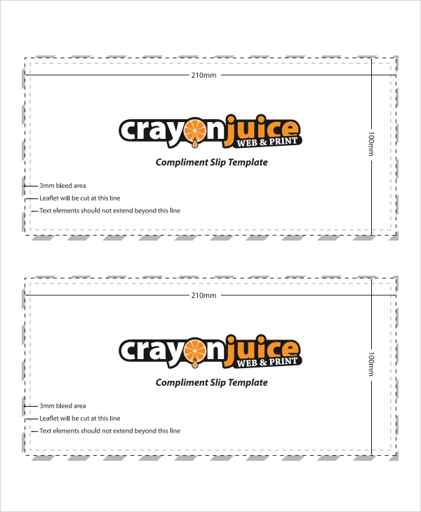 sample compliment slip template