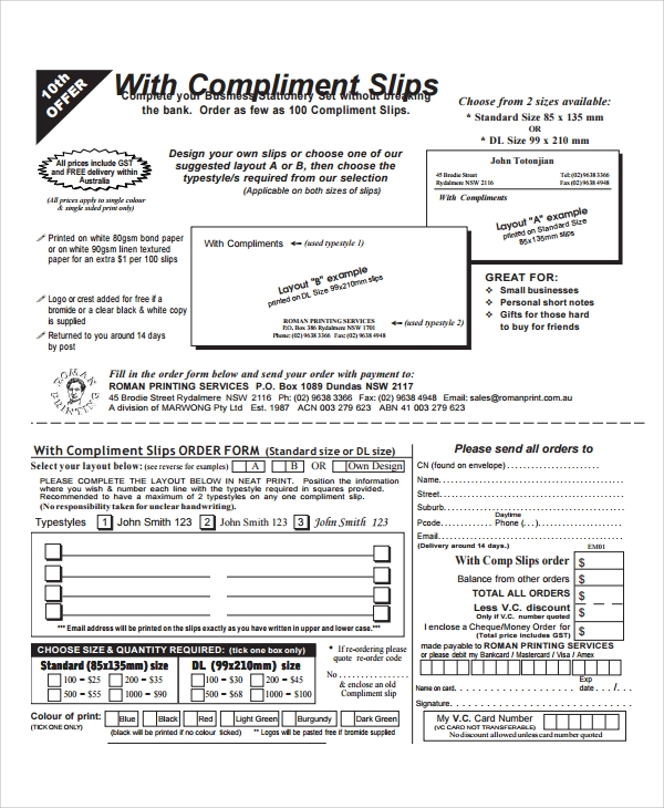 compliment slip order form template