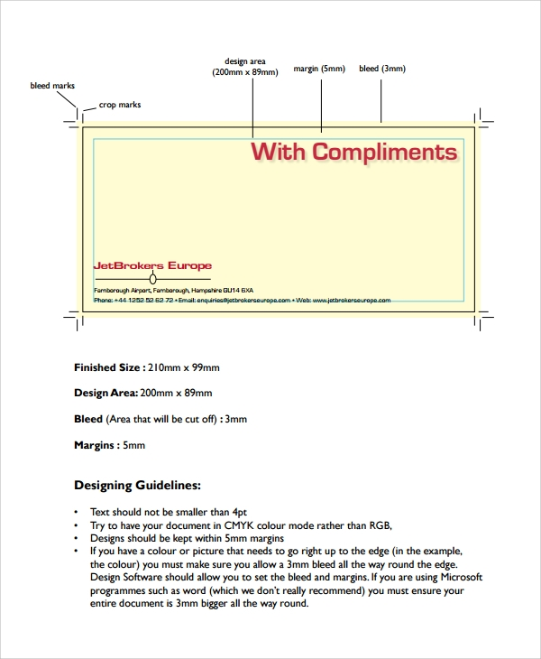 compliment slip design template