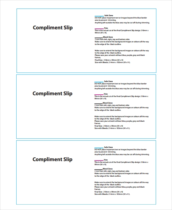 format of compliment slip template
