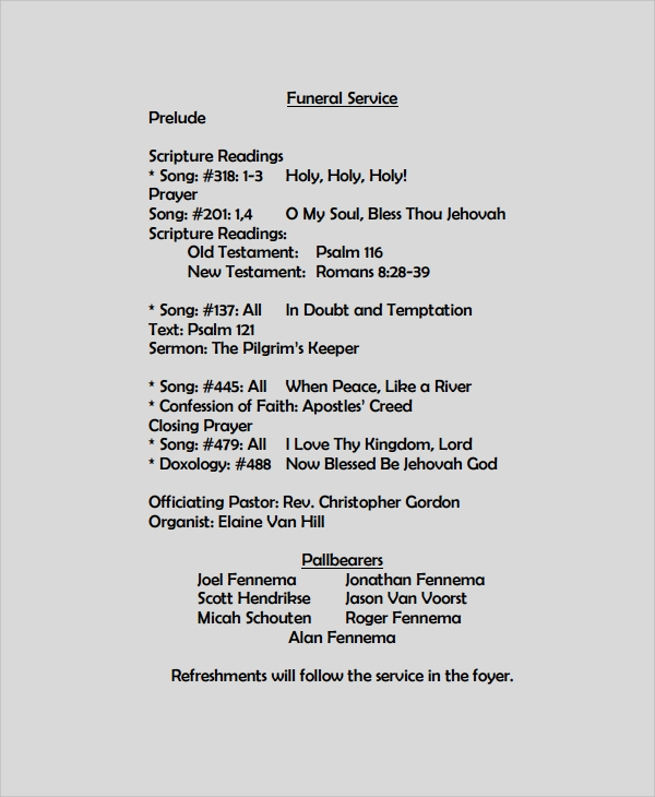 Sample Funeral Program Format Template 6 Free Documents – Funeral Program Format Template