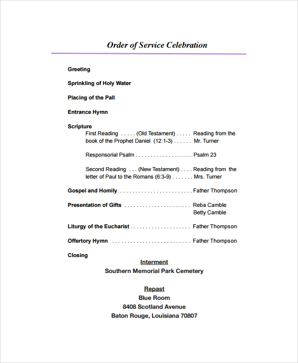 Sample Funeral Program Format Template   Free Documents Download