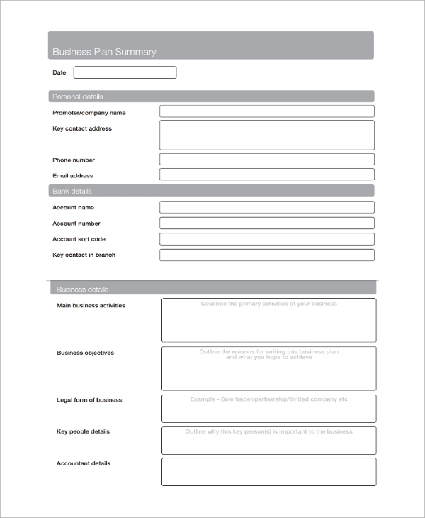 Sample Service Business Plan Template 9 Free Documents