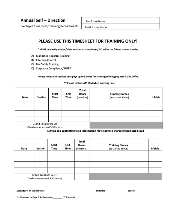 Sample Time-Sheet Template - 21+ Free Documents Download In Pdf