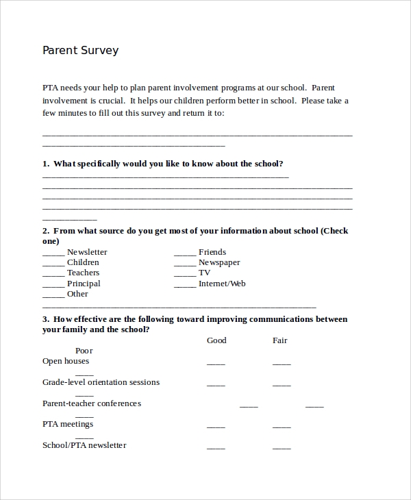 13 parent survey templates sample templates for Parent involvement plan template