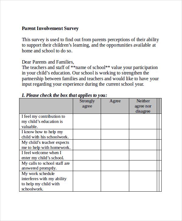 parent involvement survey template