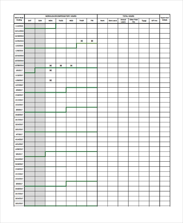 22 time sheet templates sample templates for Overtime log template