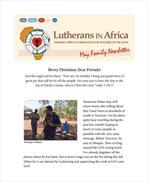 christmas family newsletter template