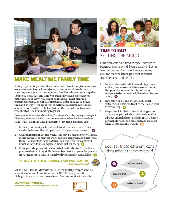 family nutrition newsletter template
