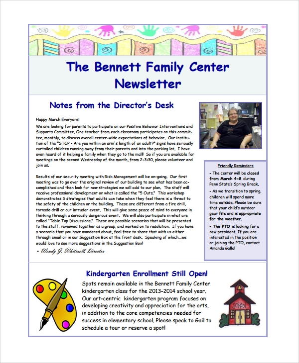 family center newsletter template