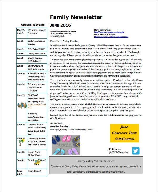 school family newsletter template
