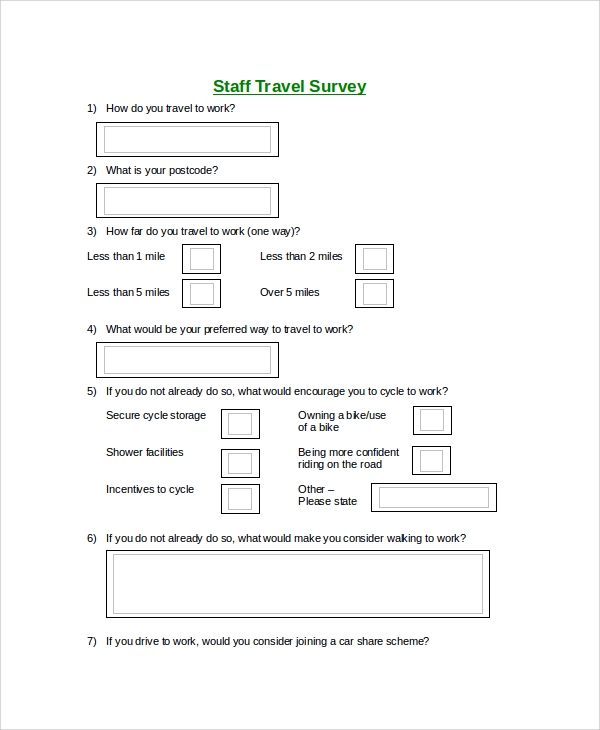 staff travel survey