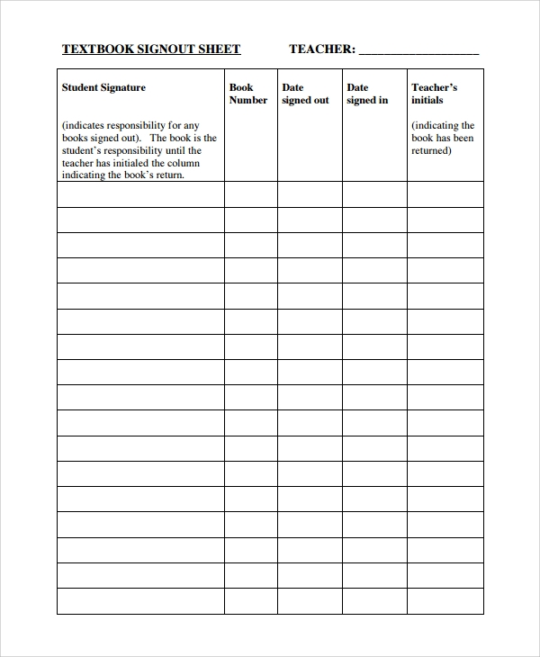 classroom textbook sign out sheet