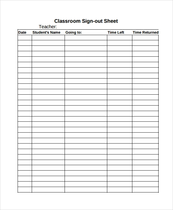 Sample Classroom Sign Out Sheet   Free Documents Download In
