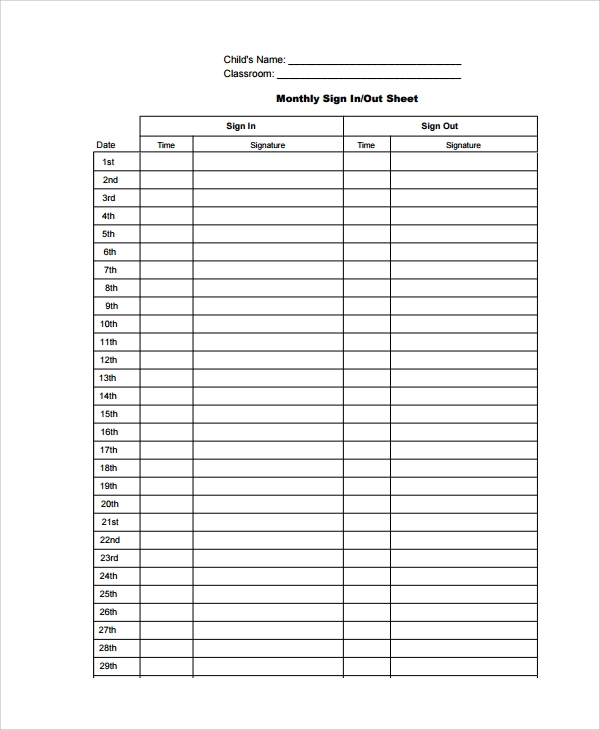 classroom monthly sign out sheet