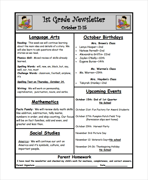 teacher weekly newsletter template