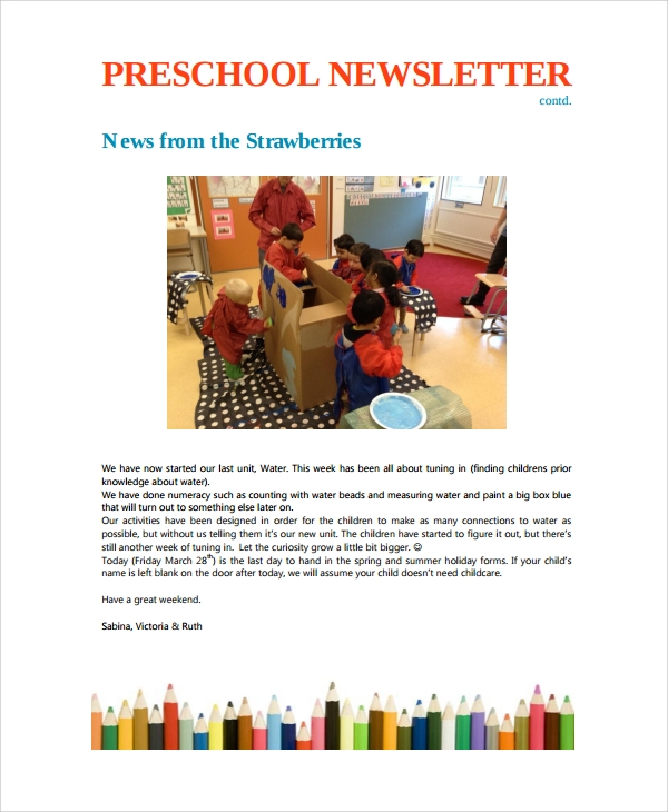 preschool weekly newsletter template