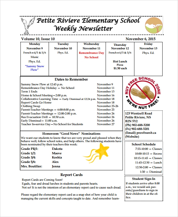 Sample Weekly Newsletter Template   Free Documents Download In