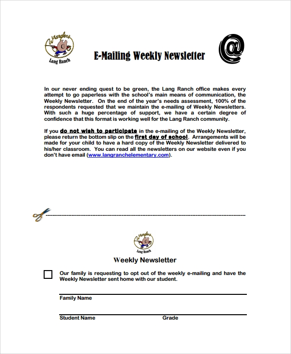 emailing weekly newsletter template