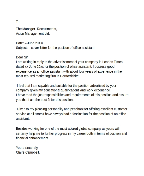 job cover letter example - Work Cover Letter Examples