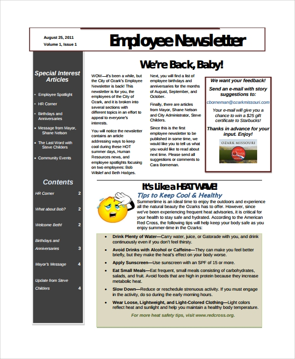 Sample employee newsletter template 9 free documents for Staff newsletter template