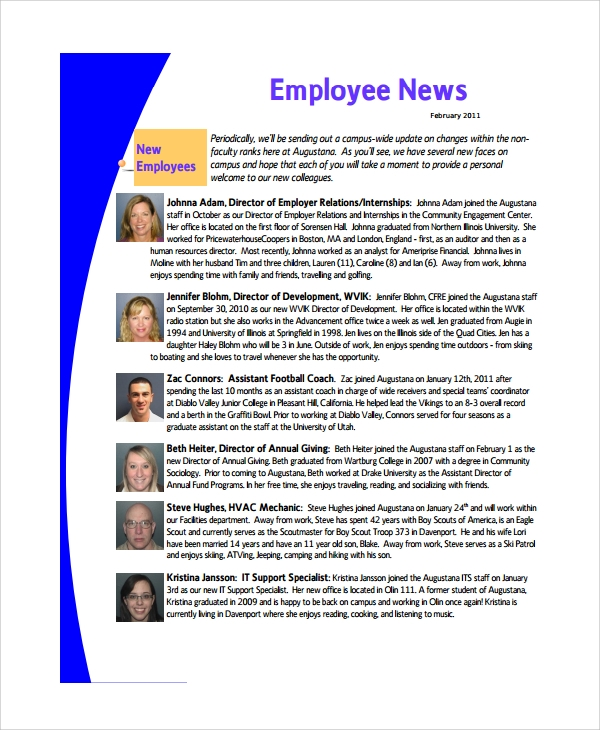 Sample Employee Newsletter Template 9 Free Documents Download – Employee Newsletter Template