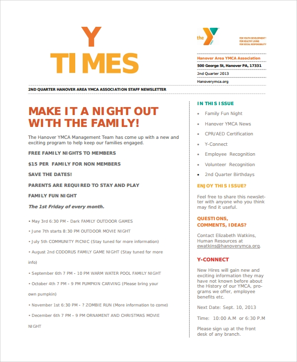 100 7 family newsletter templates free editable
