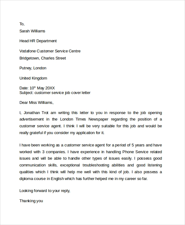 Sample Cover Letter Example Template   Free Documents Download