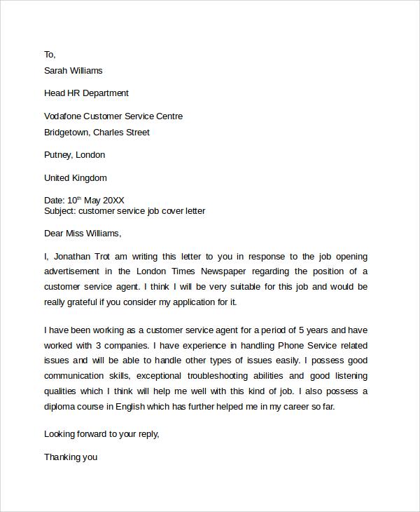 customer service associate cover letter - Fieldstation.co